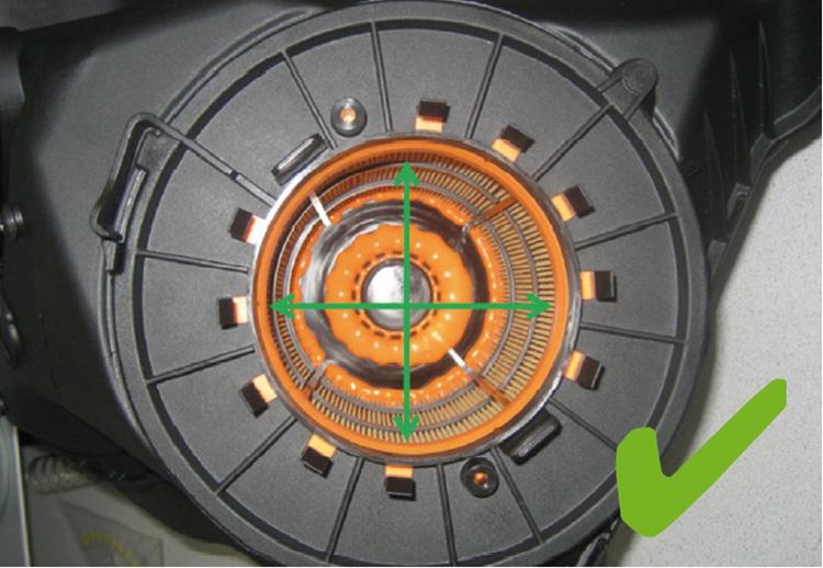 Σχήμα 3: Στοιχείο φίλτρου αέρα με σωστό κεντρικό άξονα τοποθέτησης
