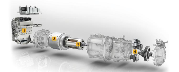Μετάδοση κίνησης Renault Zoe // 1. Ελεγκτής ηλεκτρικής ισχύος // 2. Στάτης // 3. Ρότορας // 4. Κιβώτιο μονής ταχύτητας και διαφορικό